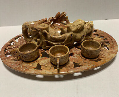 Hand Carved 9 Piece Chinese Lacquered Stone Tea Set & Tray Dragon MOP Inlay