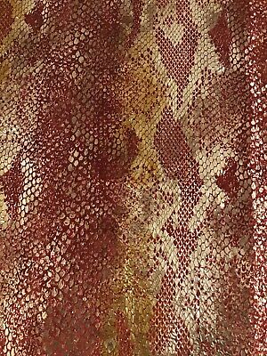 Silver Color On Red  Soft Velvet Lizard Design Fabric Remenant