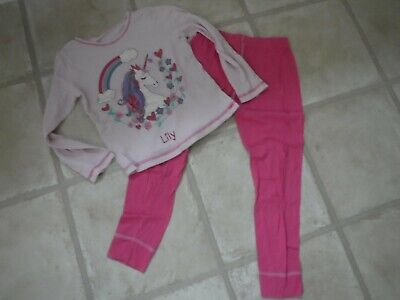 Girl's PJ's LILY' - Age 6-7 years - Pink UNICORN - Long sleeved - 100% cotton