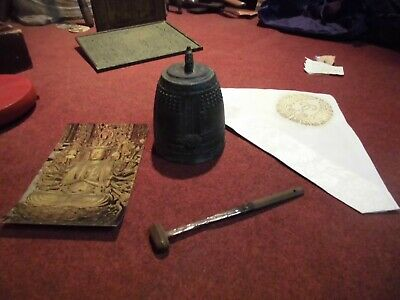 JAPANESE TEMPLE BELL BRONZE BUDDHIST Personal Bell  CHECK OUT THE VIDEO