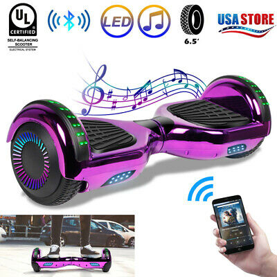 """6.5"""" Bluetooth Hoverboard Electric LED Self Balancing Scooter Purple No Bag UL"""