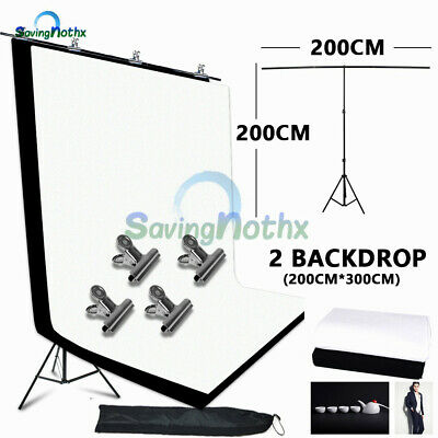 Photography Support Stand+2X3M Black White Backdrop Non Woven Background+4 Clips