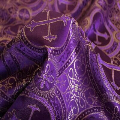 Orthodox Vestment Liturgical Fabric Purple With Golden Cross Details A Paramente