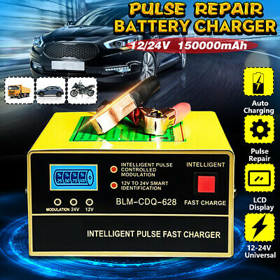 Automatic Smart Pulse Car Battery Charger Repair Starter Motorcycle SUV 12V/24V