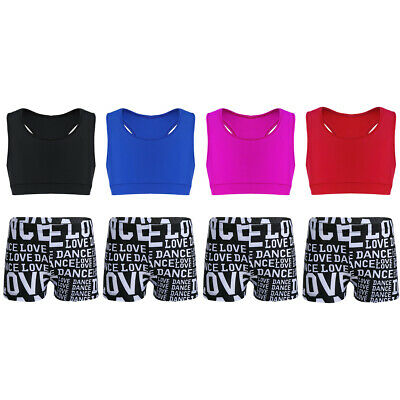 Girls Dance Sport 2PCS Outfit Racerback Tank Top with Letters Shorts Active Wear