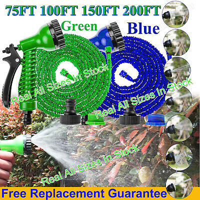Expandable Flexible Garden Hose Pipe Expanding Fittings + 7 Setting Spray Gun Uk