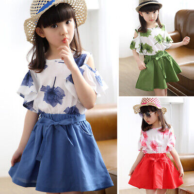Summer Kids Girls Print Cold Shoulder Tops+Skirt Dress Outfits Set Sundress 2PCS