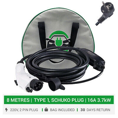 Type 1 to Schuko portable / home charger. 16A. 8METRES. 2pin SCHUKO plug.