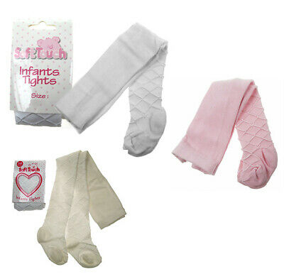 BABY GIRL DELUXE COTTON TIGHTS INFANT CHRISTENING WEDDING CREAM PINK