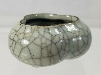 Antique Fine 18th Century Chinese Ge Yao Type Crackle Brushwasher Coupe Censer