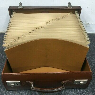 unusual vintage leather suitcase briefcase  fitted with a-z file cabinet system