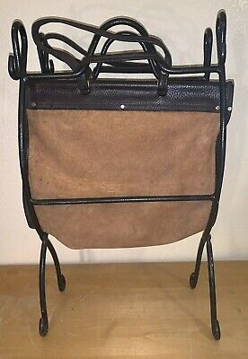 CAST IRON Folding Firewood LOG RACK Leather SUEDE CARRIER Fireplace Wood Holder