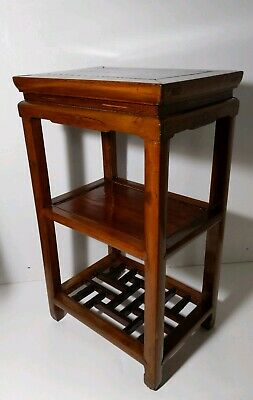 Antique Asian/Chinese Wooden 3-Tier Ming Table - Chinoiserie - Oriental Lattice