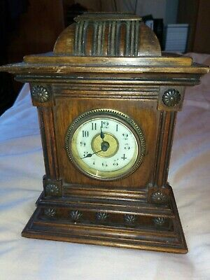 "Antique Mantle Clock Wooden Case Porcelain Dial? 7"" Tall (Not Working)"