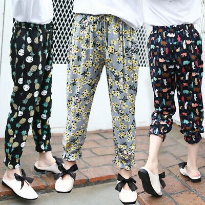 Kids Girl Baby Child Loose Summer Flower Floral Printed Pants Trousers 4-8Yrs