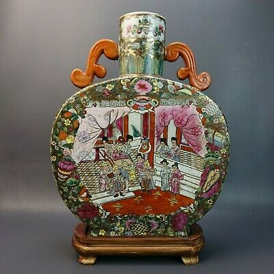 Beautiful Vintage Antique CHINESE Hand painted Pictorial PORCELAIN LAMP VASE