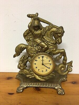 USSR SLAVA 11 Jewel Gilt Knight Sleighing Dragon Clock Rococo Decor Design