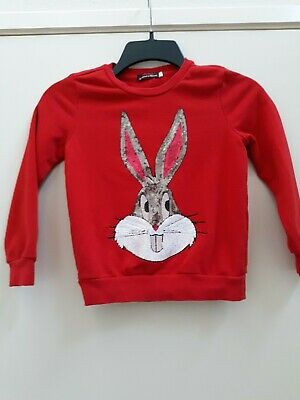 Girls Bugs Bunny Sequin Looney Tunes Boho Sweatshirt sz 6 by Cadimidi company