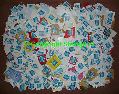 10k+ (Upto 2kg) GB 2nd Class Blue Machin Security Used Stamps On Paper LOT01