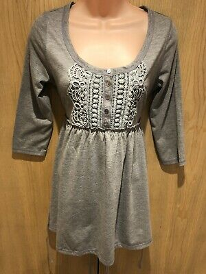 Mamas & Papas Maternity Top Size 12/14 Grey 3/4 Sleeved Pregnancy Casual Buttons