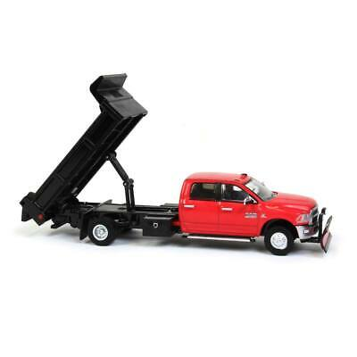 1/64 Greenlight Red 2018 Dodge Ram 3500 Dump Truck W/ Snow Plow