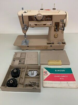 Vintage Singer Slant-O-Magic 401 Sewing Machine with Accessories
