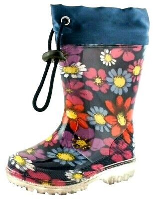 New Girls Navy Wellington Boots Rain Insole Flower Wellies School Water Shoes Uk