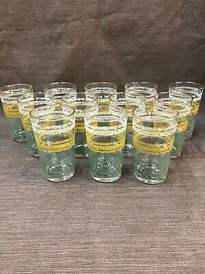 12 Vintage Juice Glasses Gold Rim White Yellow Green Flowers