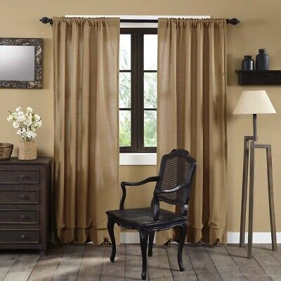 Living Bed Room Curtains Drapes Set Panel Window Burlap Rod Pocket VHC Rustic