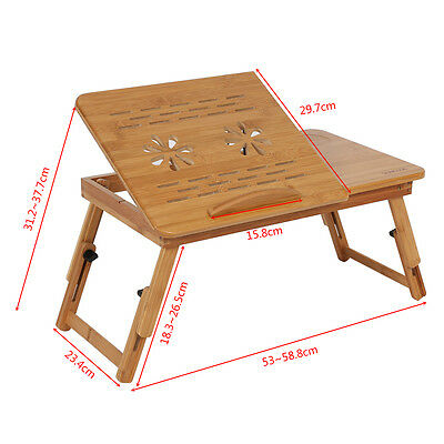 Foldable Portable Deluxe Bamboo Laptop Bed Desk Table Workstation Tray Lap Fold