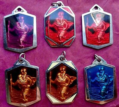 Lot Of 6  Medals Vintage Saint Christopher Old Factory Stock Red Green Etc