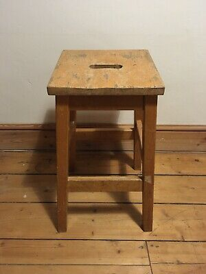 Vintage solid wood lab stool