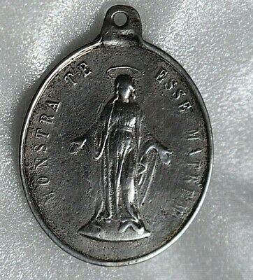 1880'S  Antique Xl Virgin Mary Medal Sterling Silver Show Yourself A Mother