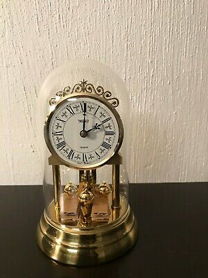 VINTAGE TRENKLE ANNIVERSARY CLOCK WEST GERMANY Brass Accents and Glass Dome