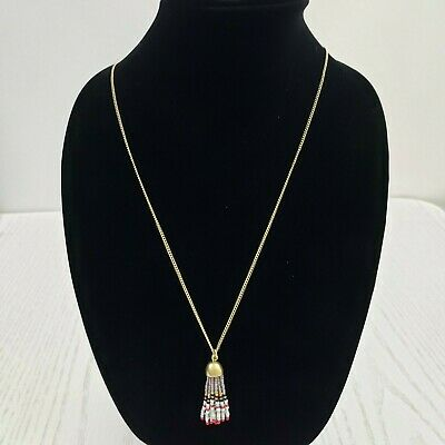 J Crew Beaded Tassel Necklace Long Gold Tone Multi Color Beads Signed Dainty