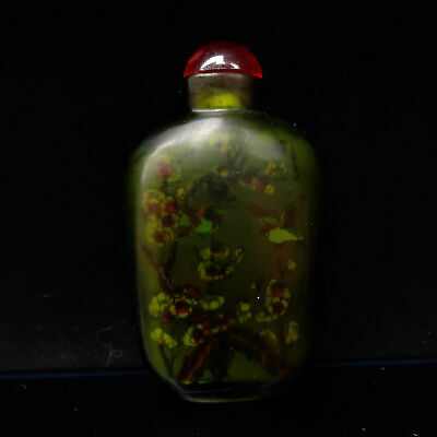 Chinese Exquisite Handmade Flowers&birds pattern Green Glass snuff bottle   S574