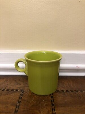 Vintage Fiesta Ware Coffee Mug Light Green Ring Tom And Jerry Handle Lemongrass