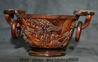 "9"" Marked Chinese Old antique Ox Horn Carved Pine Tree Child Handle Pot Jar Bowl"