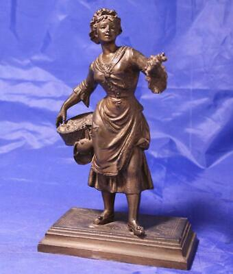 Antique Bronze Metal Statue/Figurine Woman w/Basket Selling Greens Signed c.1850