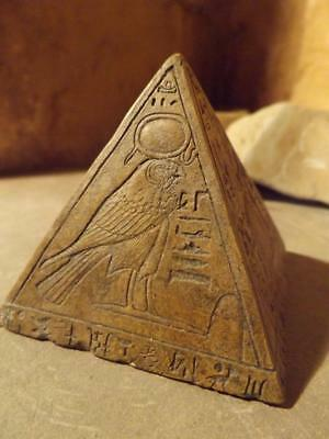 Egyptian statue pyramid / pyramidion featuring sun god Ra & adoratore ( ochre )