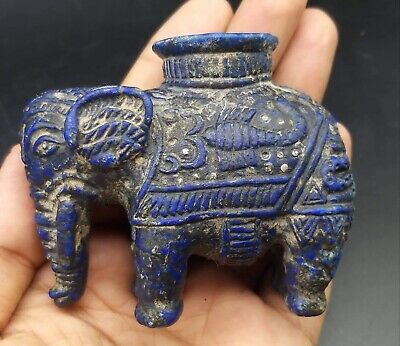 Antique Qulity Ancient Old Lapiz Lazuli Stone Elphant Lamp Statue