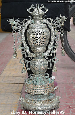 "26""Chinese Old Silver Ancient Dynasty Dragon Phoenix Beast Incense Burner Censer"
