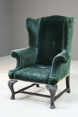 Antique Upholstered Green Velvet Wing Armchair Chair