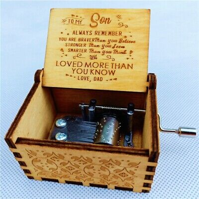 Retro Wooden Music Box Hand Crank Engraved Musical Toy Birthday Mothers Day Gift