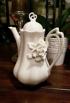Grace's Teaware Raised Rose Flower Victorian White Tall Coffee Tea Pot / Teapot