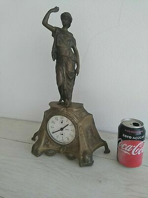 "Antique Table Clock Mechanical Portuguese ""REGULADORA"" HEAVY brass WORKING 7.7lb"