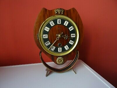 OLD WINTAGE  RETRO CLOCK Mid Century Orfac Pendulum Metal Table Mantle Clock