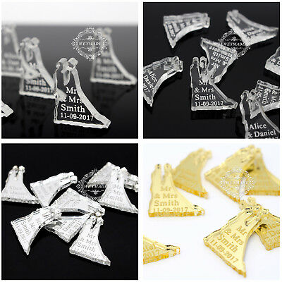 Personalized Wedding Engraved Mr & Mrs Surname Party Table Confetti Decor Favour