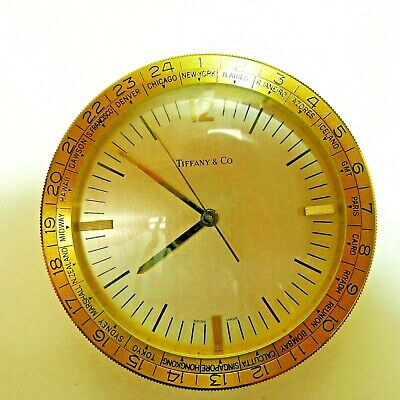 Tiffany & Company World Time Desk Shelf Clock Quartz Working Swiss Made