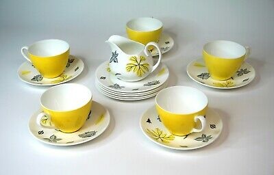 Adderley Fine Bone China Tea Service for 5 - Breeze - Yellow Cups - Grey Leaves